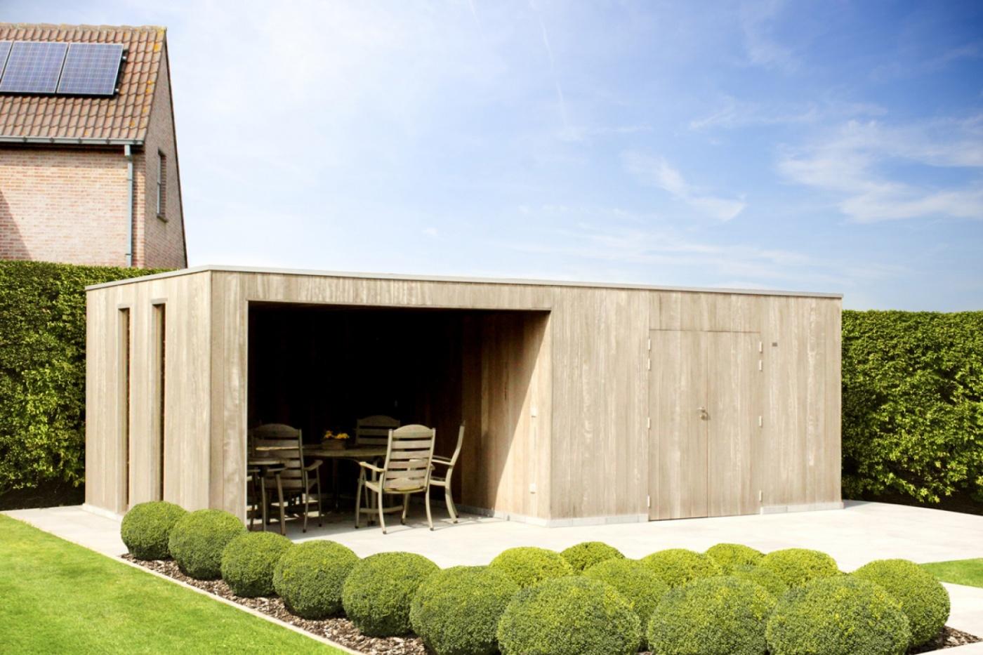 Cubic met luifel | moderne poolhouse | moderne poolhouses | West-Vlaanderen